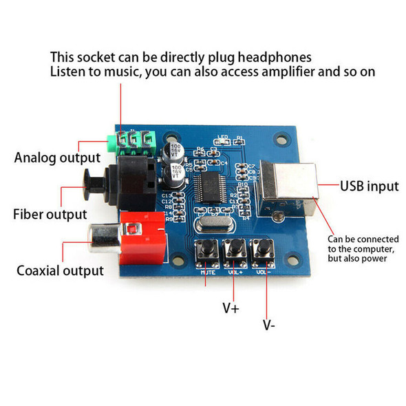 PCM2704 USB DAC to S/PDIF Sound Card Decoder Board with Analog Output 98dB
