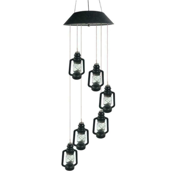 Hanging Wind Chimes Solar Powered Colour Changing LED Garden Windchimes P3U6