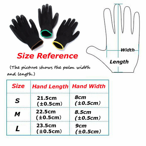 6 Pairs S M L Nylon PU Safety Coating Work Gloves Builders Palm Protect
