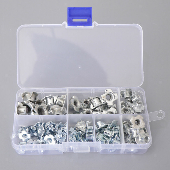 80x M3/M4/M5/M6/M8 Zinc Plated Four Prong Furniture T Nuts Blind Nut f Wood