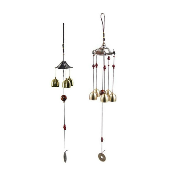 2pcs Metal Lucky Bells Oriental Wind Chime Outdoor Garden Hanging Decor