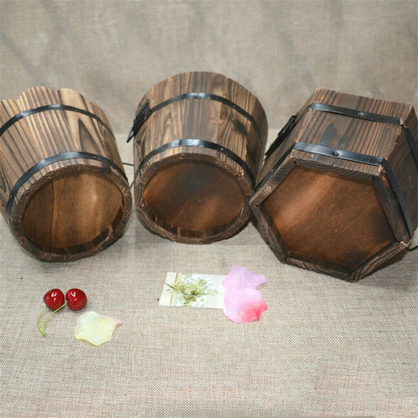 Wooden Round Barrel Planter Flower Pot Home Office Garden Wedding Decor M #2