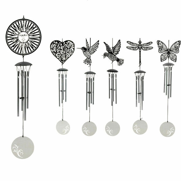 Sun Face Stainless Steel Wind Chimes 4 Bells Wind Bells Home Balcony Decor