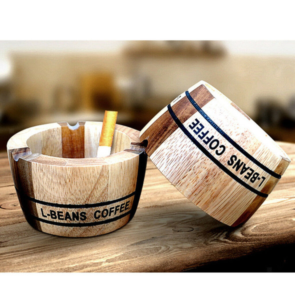 Wood Round Design Cigarette Cigar Tabletop Ashtray For Home/Office/Travel