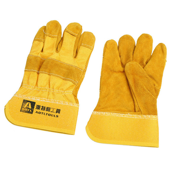 1 Pair Welding Gloves, Heat Resistant, Cowhide Leather Protective Gauntlets