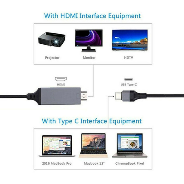 USB3.1 Type-C to HDMI Adapter Cable Converter For Macbook HDTV Projector 6ft