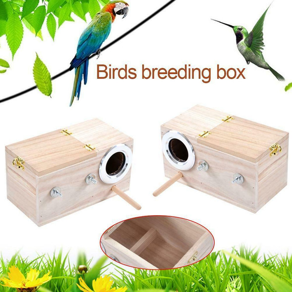 For Lovebirds Parrotlets Mating Parakeet Nest Box Birdhouse Budgie Wood Breeding
