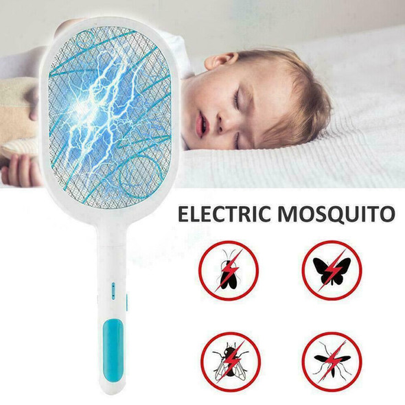 Electric Racket Fly Swatter Mosquito Insect Killer Bug/Zapper Rechargeable C3E0