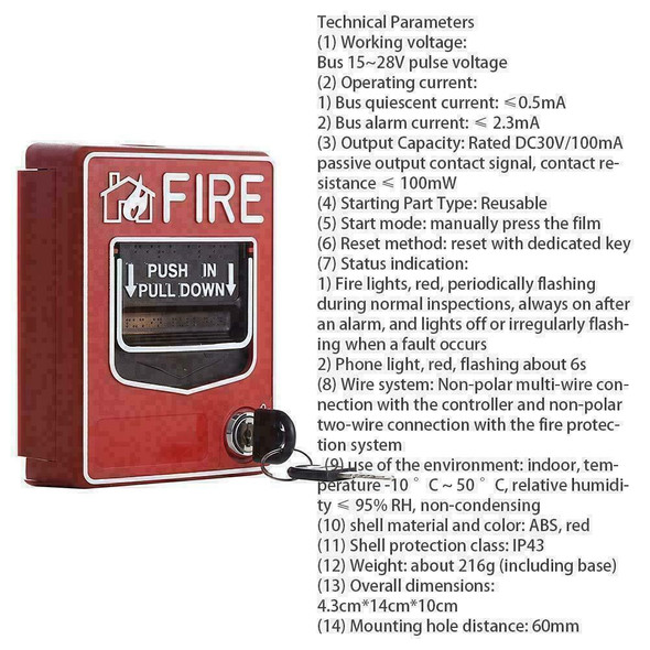 Fire Alarm Pull Station Addressable Single Action new B5G2 Y2Z9 W4K6