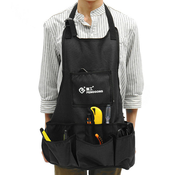 Oxford Apron 13 Pocket Woodworker Carpenters Gardening Tool Work Pouch Black