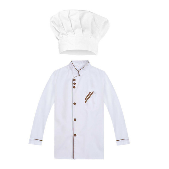 Hotel Chef Uniform Long Sleeves Jacket Restaurant Kitchen Uniform +Chef Hat