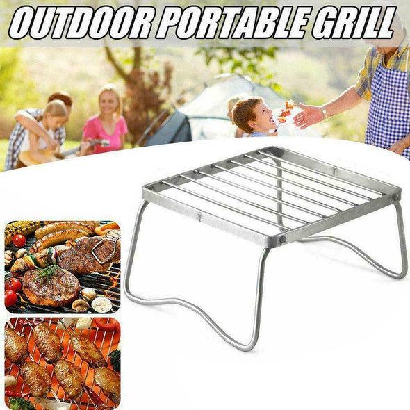 Stainless Steel Foldable BBQ Stand Portable Barbecue Patio Grill-Holder Z9J4