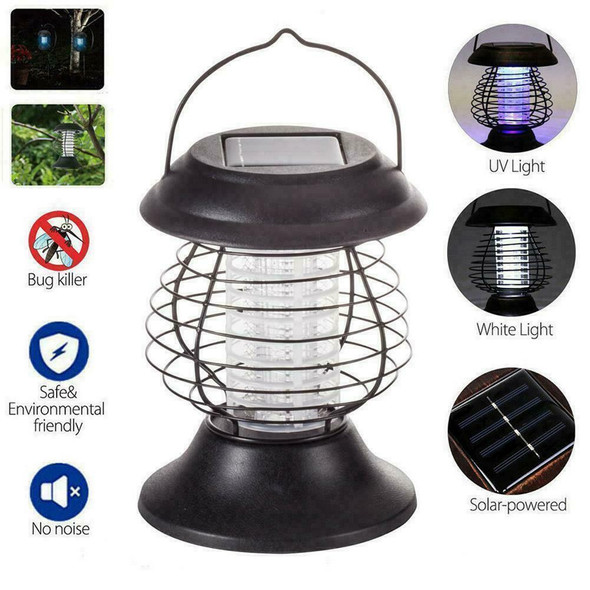 Solar Insect Killer Mosquito Pest Lamp Bug Fly Lanterns Portable Zapper D6R6