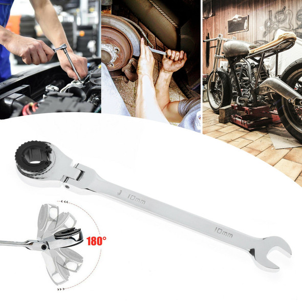 Tubing Ratchet Wrench Horn Spanners 72 Tooth Alloy Steel Repair Tool 10mm