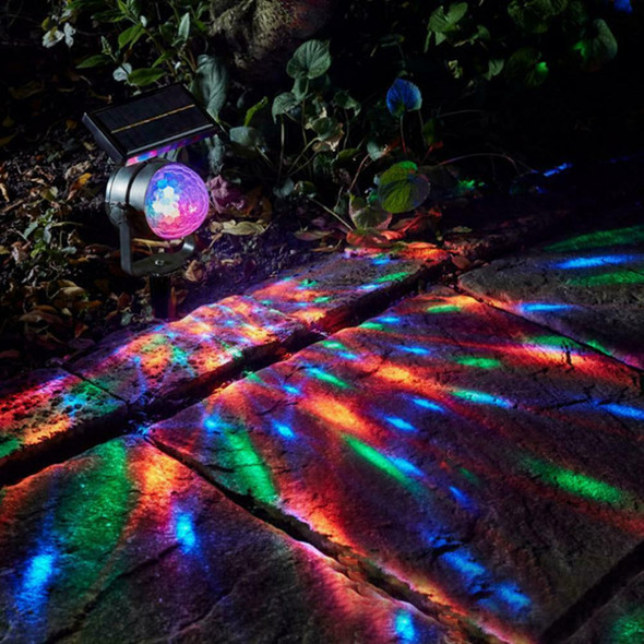 Solar LED Carnival Moving Colour Changing Spotlight Garden Light Party L6L9