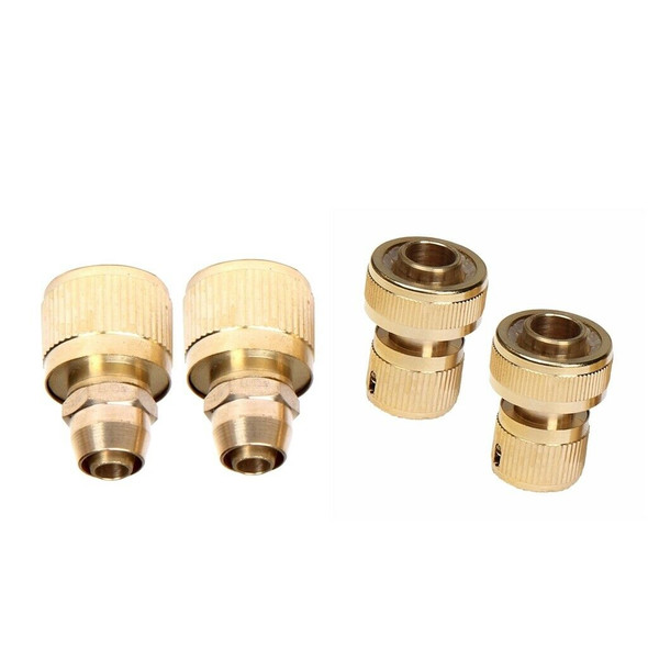 4pcs Brass Pressure Washer Garden Hose Quick Connect Set,9MM/20MM