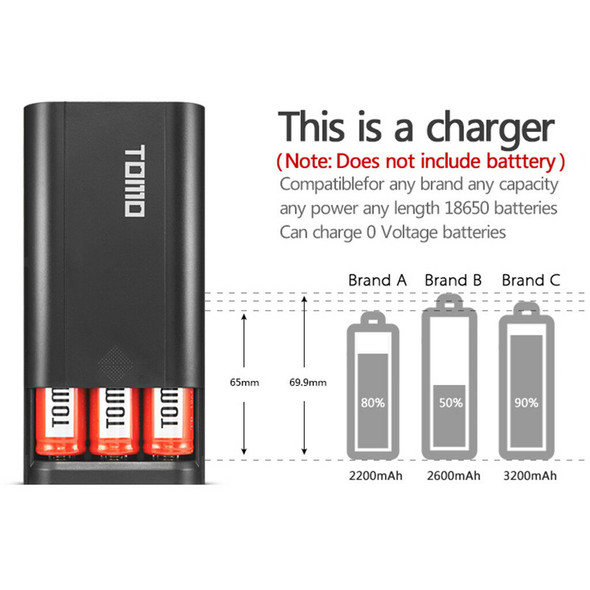 Dual USB LCD Power Bank Battery Charger Holder for 3pcs 18650 Batteries