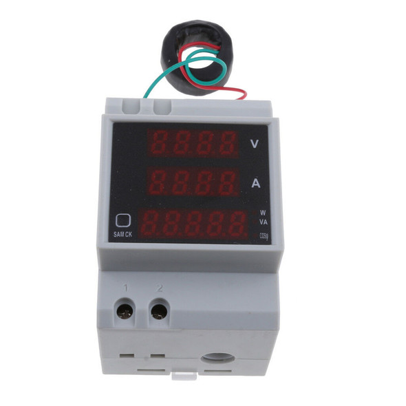 Din Rail LED Voltmeter Ammeter Active Power Factor Energy Meter AC 200V-450V