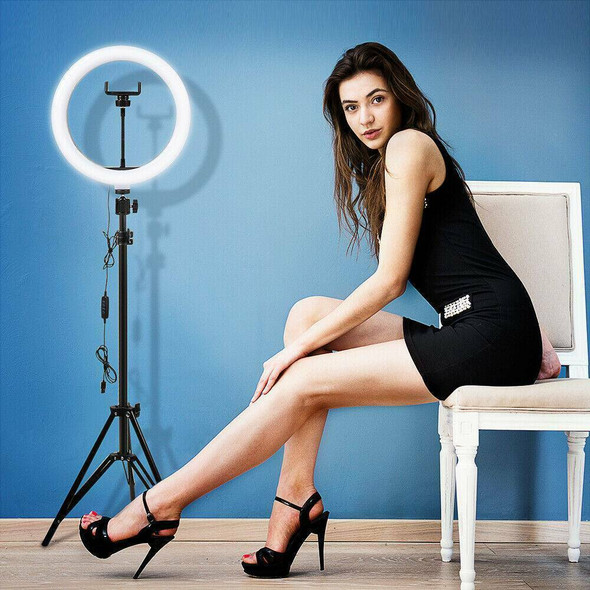 LED Ring Light Lamp Selfie Camera Phone Studio Tripod Stand Video Dimmable Set^^