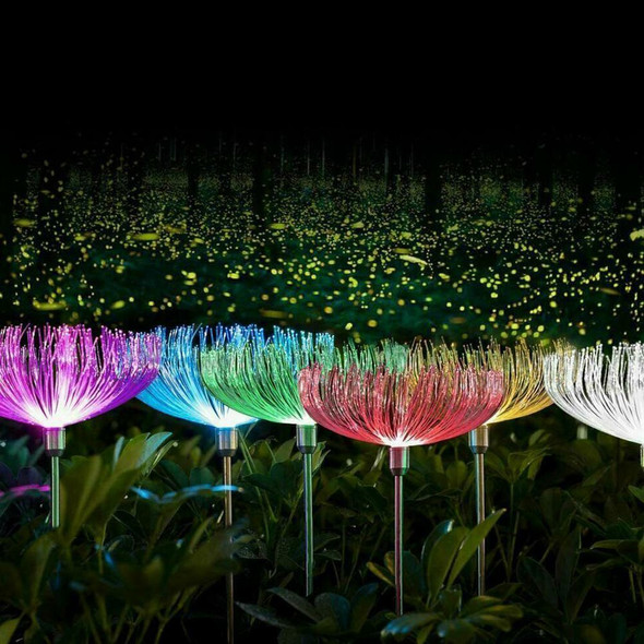 Solar Fiber Optic Jellyfish LED Light Ground Lamp Garden Outdoor Waterprof Decor
