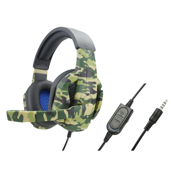 Camo Wired Gaming Headset with Mic for PS4 NS Xbox One 360 Bass Surround