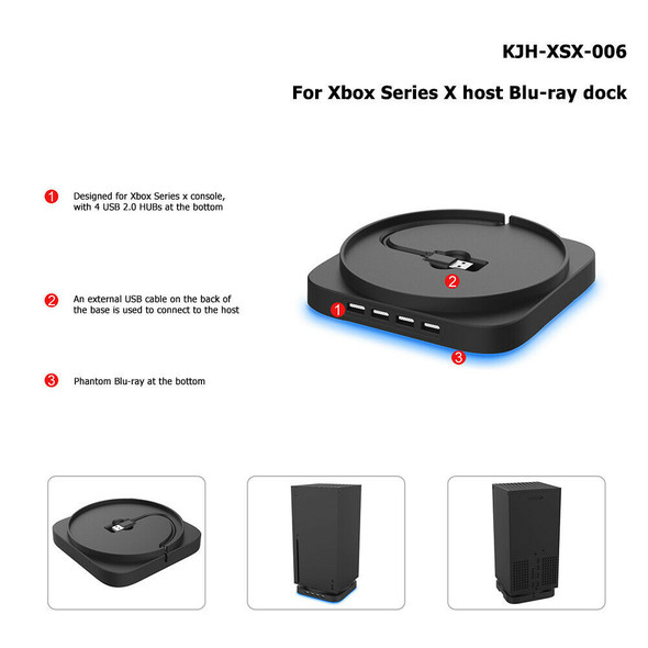 Blue Light Console Vertical Stand for Xbox Series X with 4 Port USB 2.0 HUB