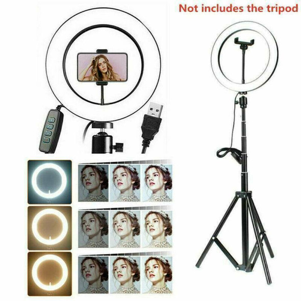 "10"" LED Selfie Ring Light with Light Stand Phone Holder For Makeup Camera NEW"