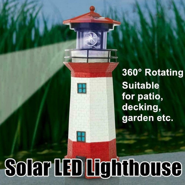 LED Solar Powered RED Lighthouse Statue Rotating Garden Patio Yard Outdoor T5G9