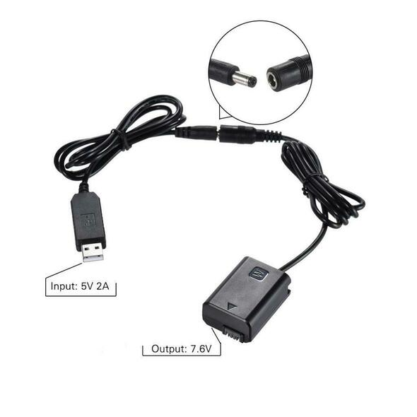 NP-FW50 Power Adapter DC Dummy Battery USB Adapter Cable For Sony Camera