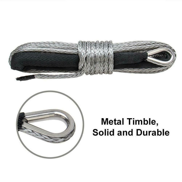 """50'X1/4"""" Synthetic Winch Rope Cable 7000 LBs ATV SUV Recovery Replacement"""