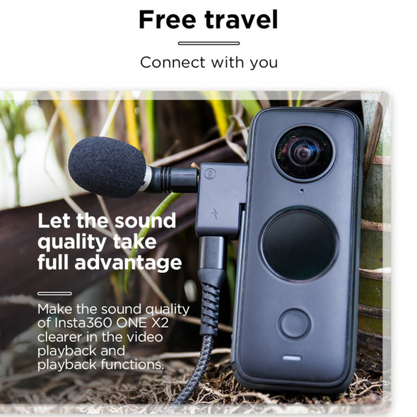 Black Dual USB-C 3.5mm Input Audio Mic Adapter for Insta360 ONE X2 Durable