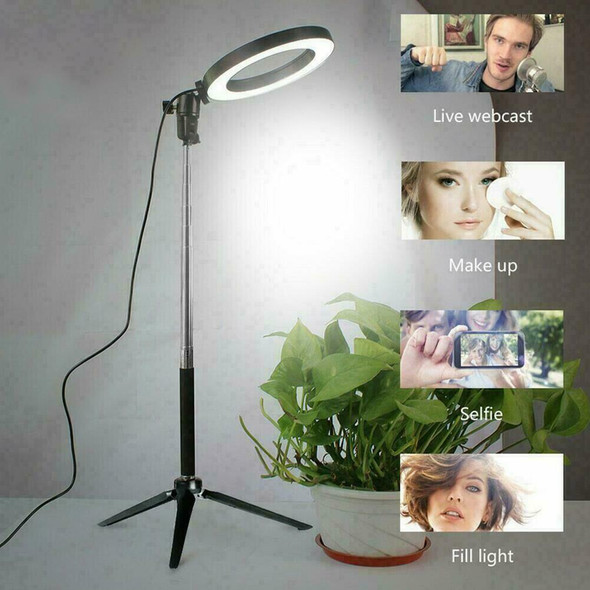 LED Studio Ring Light Photo Video Dimmable Lamp Light Phone Camera Tripod S3D8