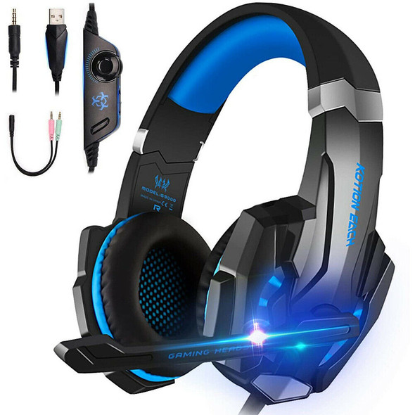 G9000 Gaming Headset Wired 40mm Driver Over Ear Headphones Earbuds+LED Light+Mic