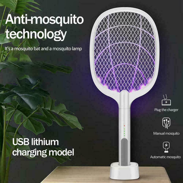 Mosquito Swatter Electric Flies Insect Killer Bug Zapper Racket I4V7