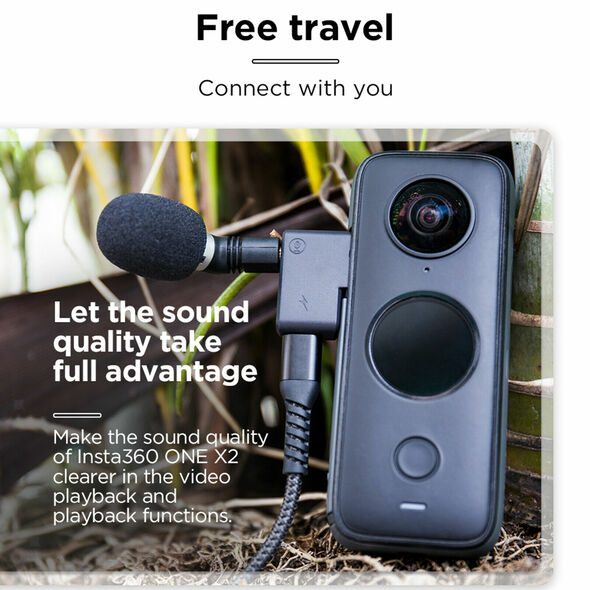 Compact Dual USB-C 3.5mm Micophone Adapter for Insta360 ONE X2 Durable