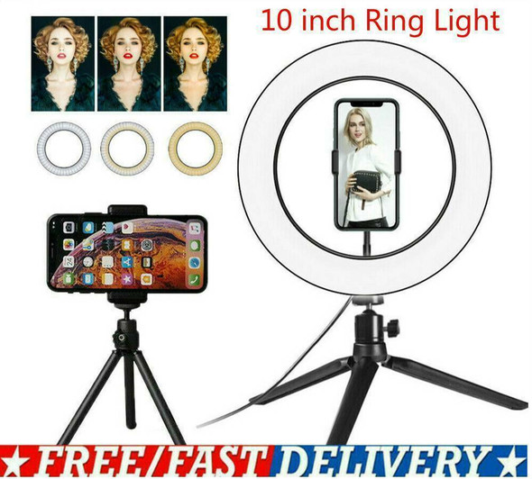 10in LED Ring Light with Stand For Youtube Tiktok Selfie Phone Makeup Video X7W5