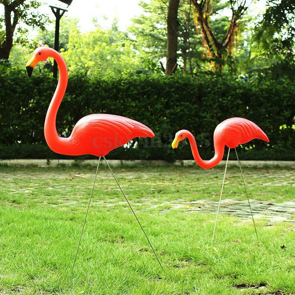 2pcs Plastic Looking Up&Down Flamingo Yard Garden Lawn Vivid Decor Red