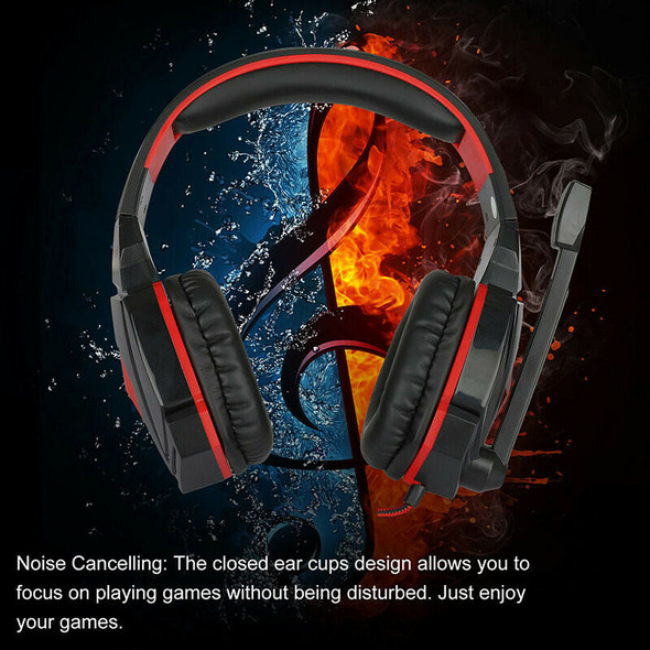 3.5mm Wired Gaming Headset LED Stereo Surround Headphone w/ Mic for PC PS4