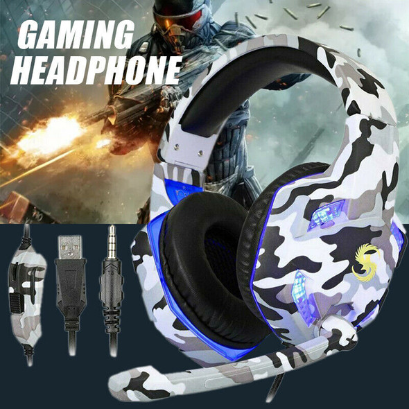 3.5mm Gaming Headset MIC LED Headphones for PC/Laptop/PS4 Pro