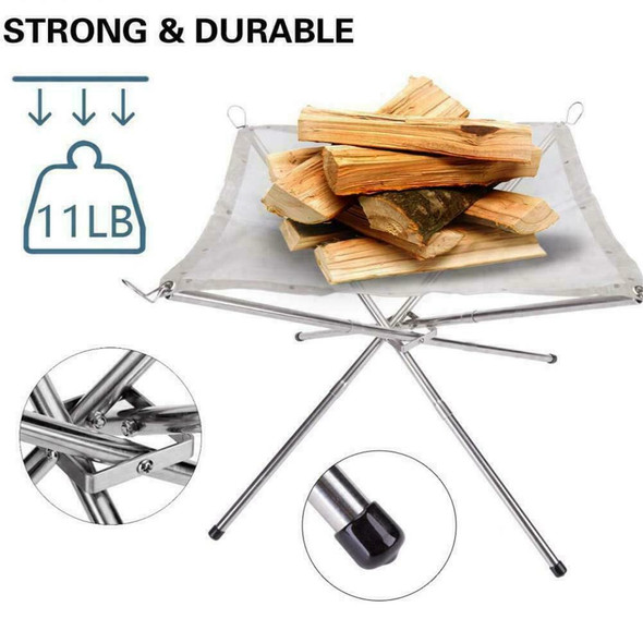 Foldable Portable Campfire Rack Outdoor Camping Burning Fireplace Pit Fire M5C4