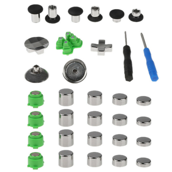 31pcs Thumb Stick Grips For PS4 Series Controller Button+Screwdriver+Bag