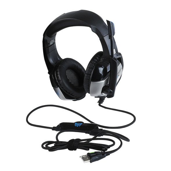 Over Ear Headphone Headset w/ Mic for PS4 PC Xbox One Controller Gray