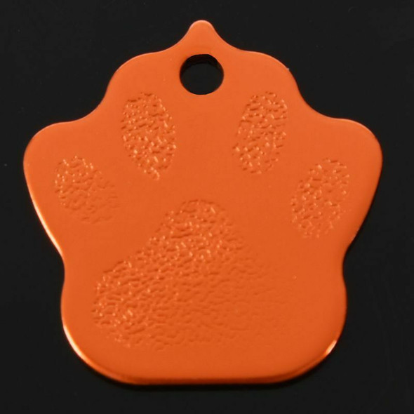 Paw Pet ID Tag Dog Puppy Cat Kitten Name Tags Aluminum alloy 27*27mm orange