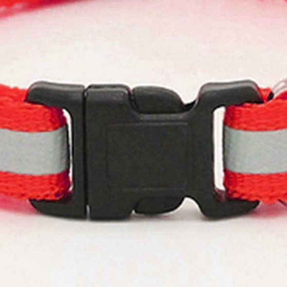 Adjustable Reflective Pet Collar Safety Release Buckle with Bell for Cat Do