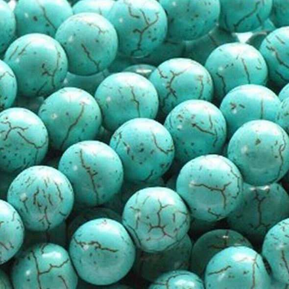 Turquoise Howlite 4mm Round Beads for DIY Jewelry Making 13.8 Inch Strand