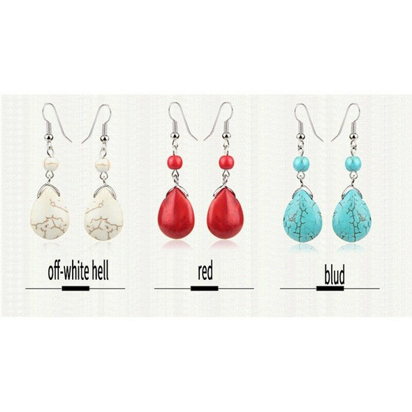 Retro Simple Drops Natural Stone Turquoise Earrings Featured Texture Stone