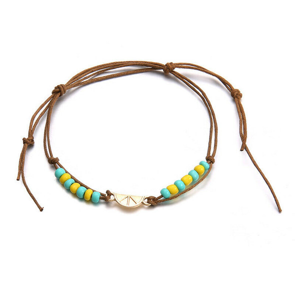 Bohemian Beads Anklets For Women Weave Rope Ankle Charm Bracelets On Leg Be