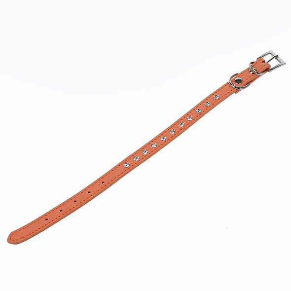 Orange PU Leather Dogs Cats Pets Puppy Neck Safety Collars XS
