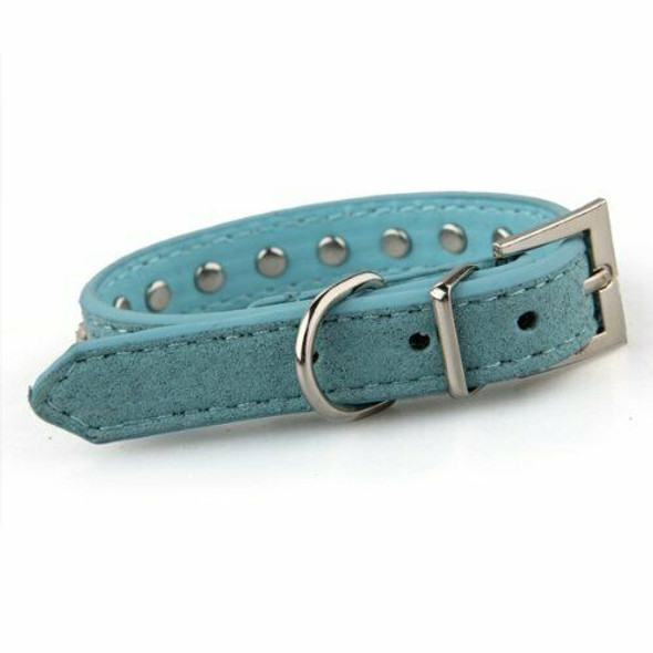 Blue PU Leather Dogs Cats Pets Puppy Neck Safety Collars XS