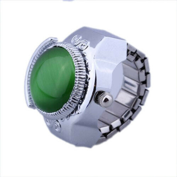 Women Alloy Quartz Green Cats Eye Round Dial Pocket Finger Ring Watch